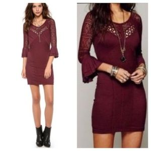 Free People City Girl Lace Bodycon Plum Dress
